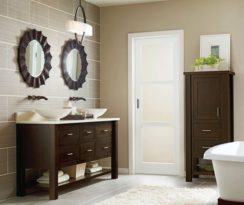 furniture type vanity with matching linen closet