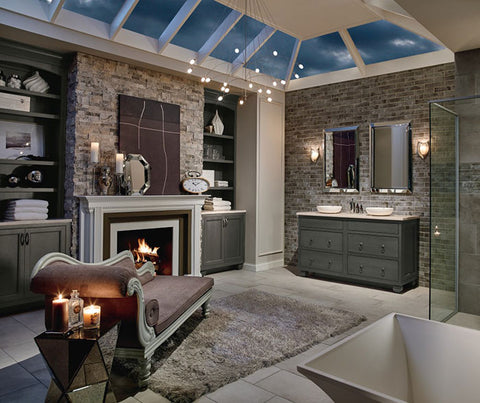extravagant bathroom with fireplace