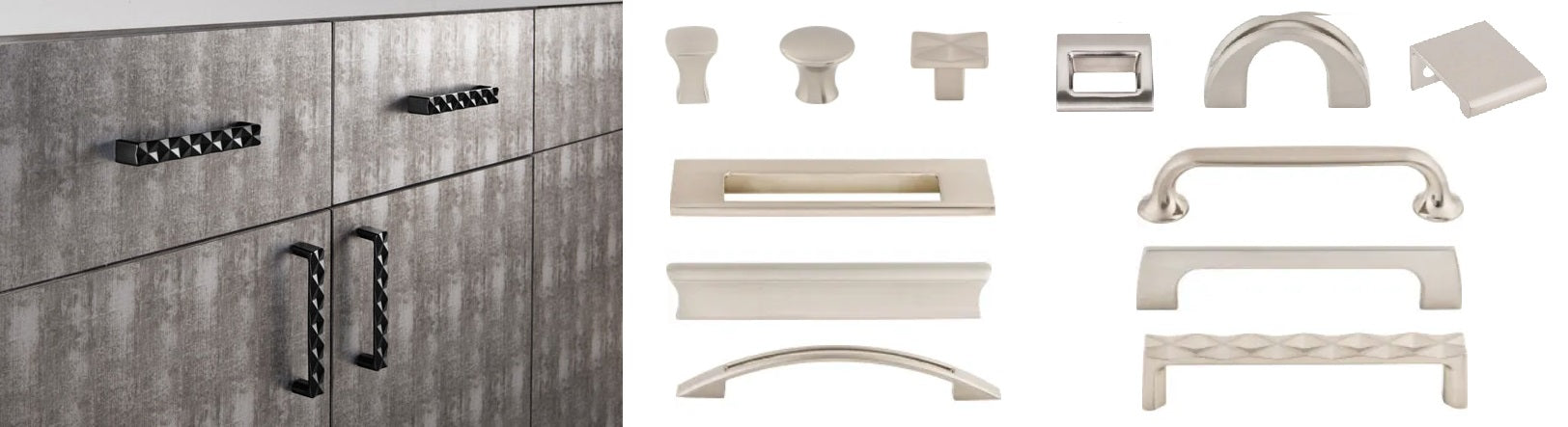 Top Knobs Mercer Collection, quilted handles and europa tab pull