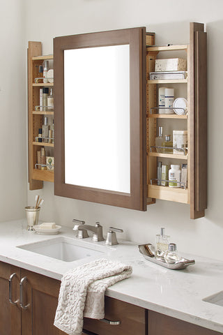 Bathroom Vanity Mirror with side pull outs