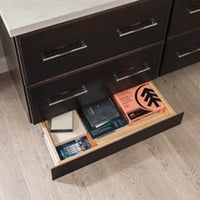 toe kick drawer with office supplies
