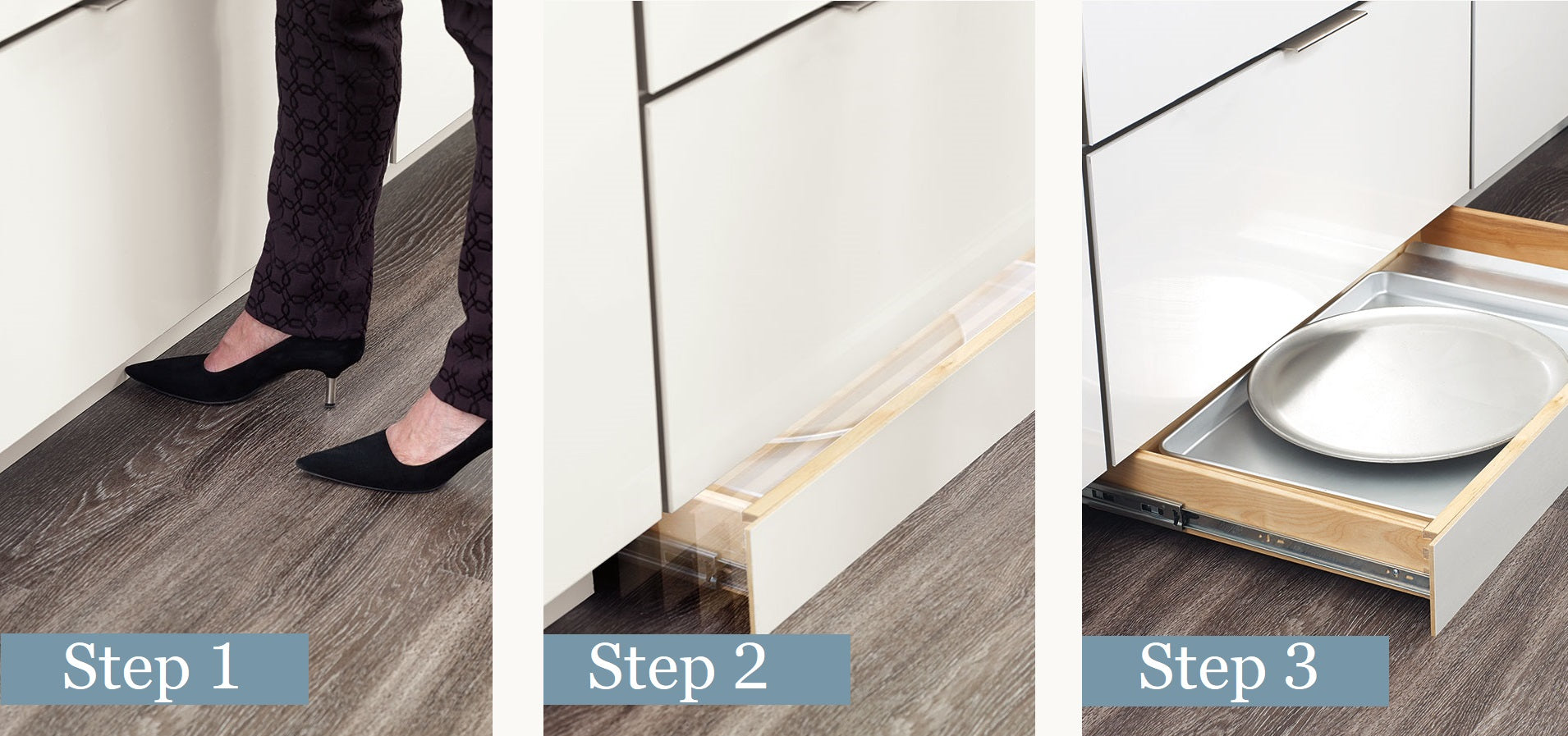 Push to open toe kick drawer for hidden storage