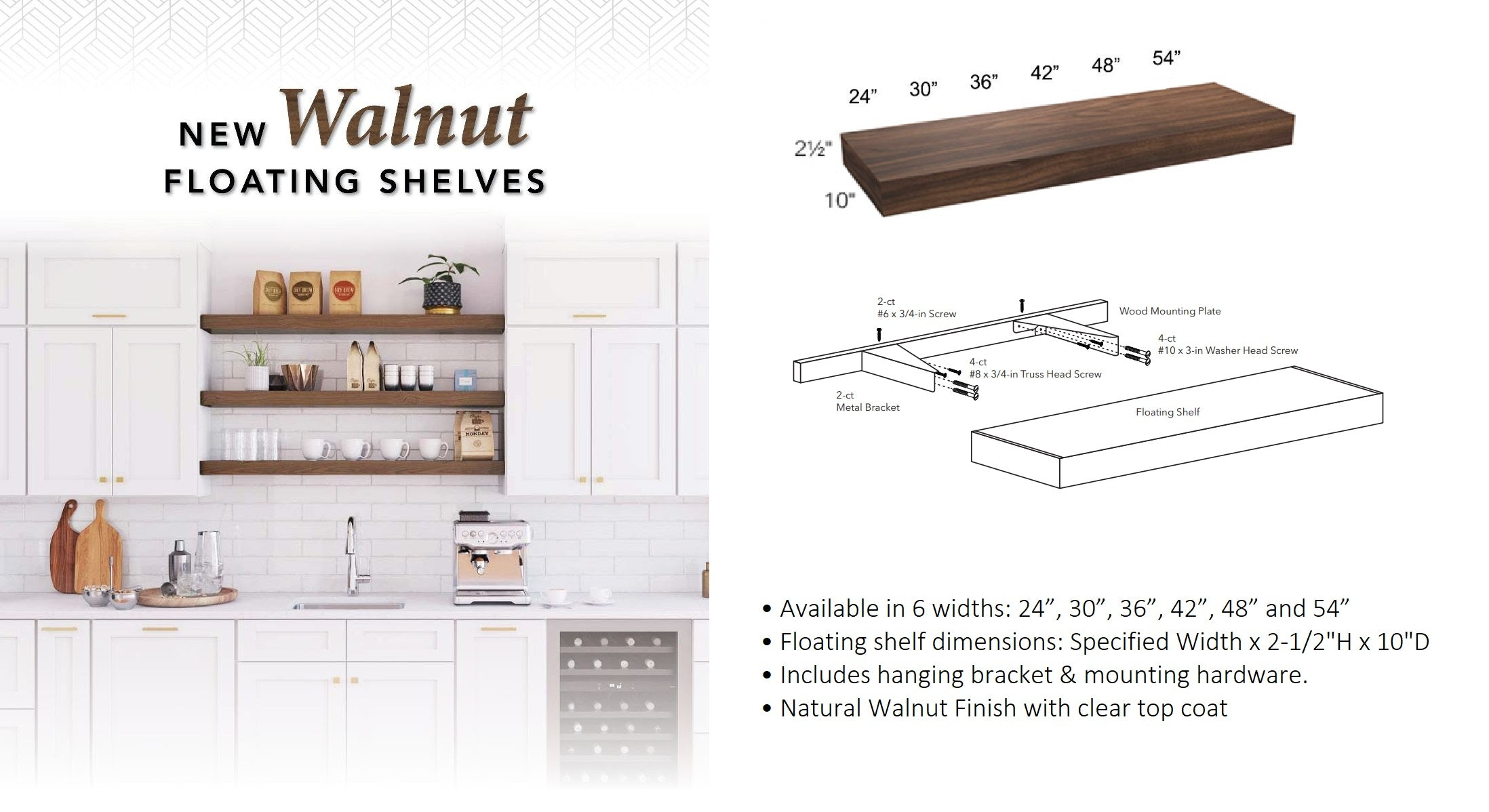 Walnut Floating Shelves by Fabuwood Cabinetry at DirectCabinets.com