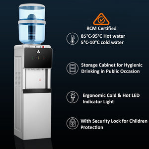 AIMEX WATER SILVER BLACK FLOOR STANDING WATER COOLER WITH 3 FLUORIDE REMOVAL  WATER FILTERS