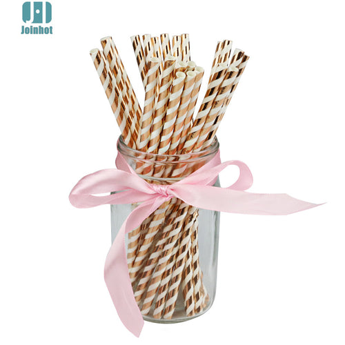 Rose Gold Striped Paper Straws (25pcs)