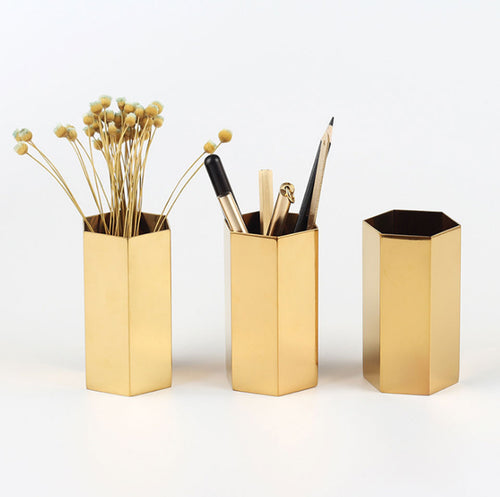 Geometric Gold Pencil & Brush Holder