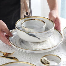 Load image into Gallery viewer, Marble Gold-Rimmed Dinnerware