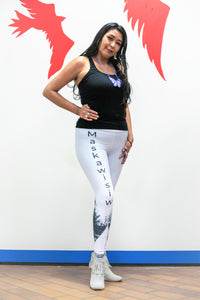 Jamie Medicine Crane, Blackfoot, models Mixed Blood Apparel's Maskawisiw Yoga Legging