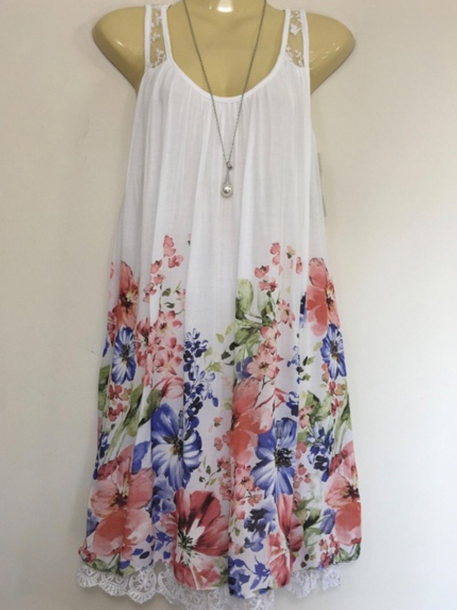 dc97ed410d ... Load image into Gallery viewer, Spaghetti Strap Floral Printed Shift  Dress ...