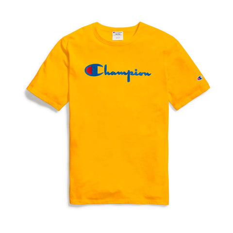 CAMISETA CHAMPION LOGO DIRECT FLOCK SCRIPT AMARELO