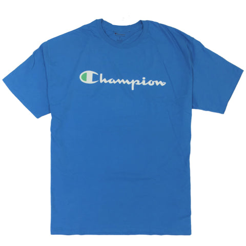 CAMISETA CHAMPION LOGO SILK ESCRITO AZUL WATER