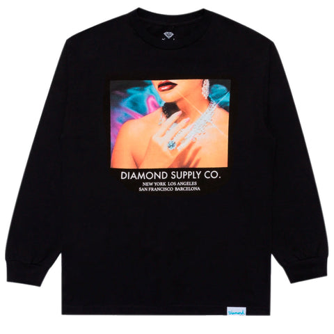 CAMISETA LS DIAMOND WOMENS HAND BLACK
