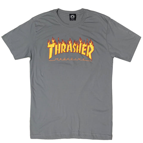 CAMISETA THRASHER FLAME LOGO CHARCOAL
