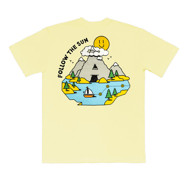 CAMISETA Ã URBAN OUTDOOR FEELINGS FOLLOW THE SUN AMARELO CLARO