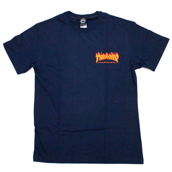 Camiseta Thrasher Mc Flame Bottom- Marinho