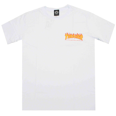 Camiseta Thrasher Mc Flame Bottom- Branca