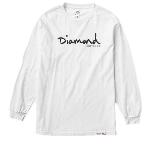 CAMISETA DIAMOND OG SCRIPT LS WHITE