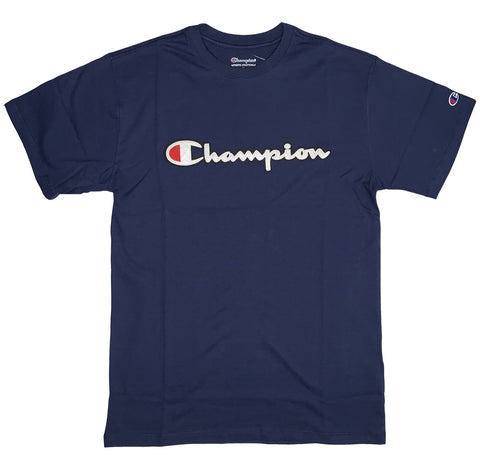CAMISETA CHAMPION PATCH LOGO SCRIPT MARINHO