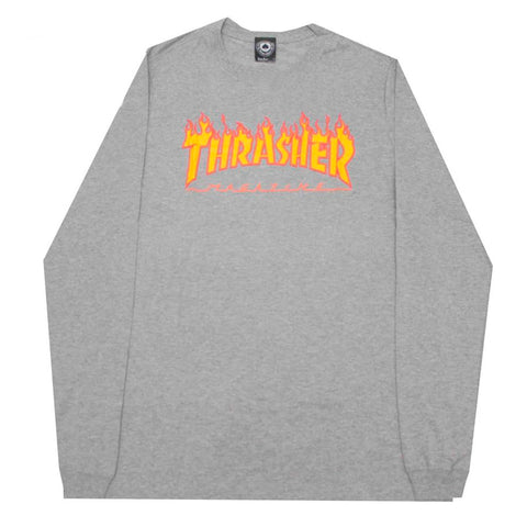 Camiseta Thrasher ML Flame Logo - Mescla