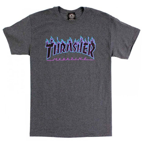 Camiseta Thrasher Purple Flame Logo - Mescla