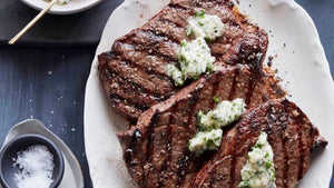 Grilled Steak Topped with Casco Bay Creamery Garlic & Herb Butter