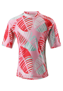 Kinder Sonnenschutz T-Shirt Fiji Bright Red Leaves