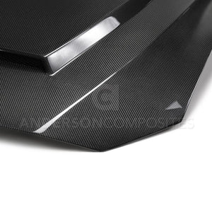 Anderson Composite 2018-2019 Ford Mustang Super Snake Style Double Sided Carbon Fiber Hood