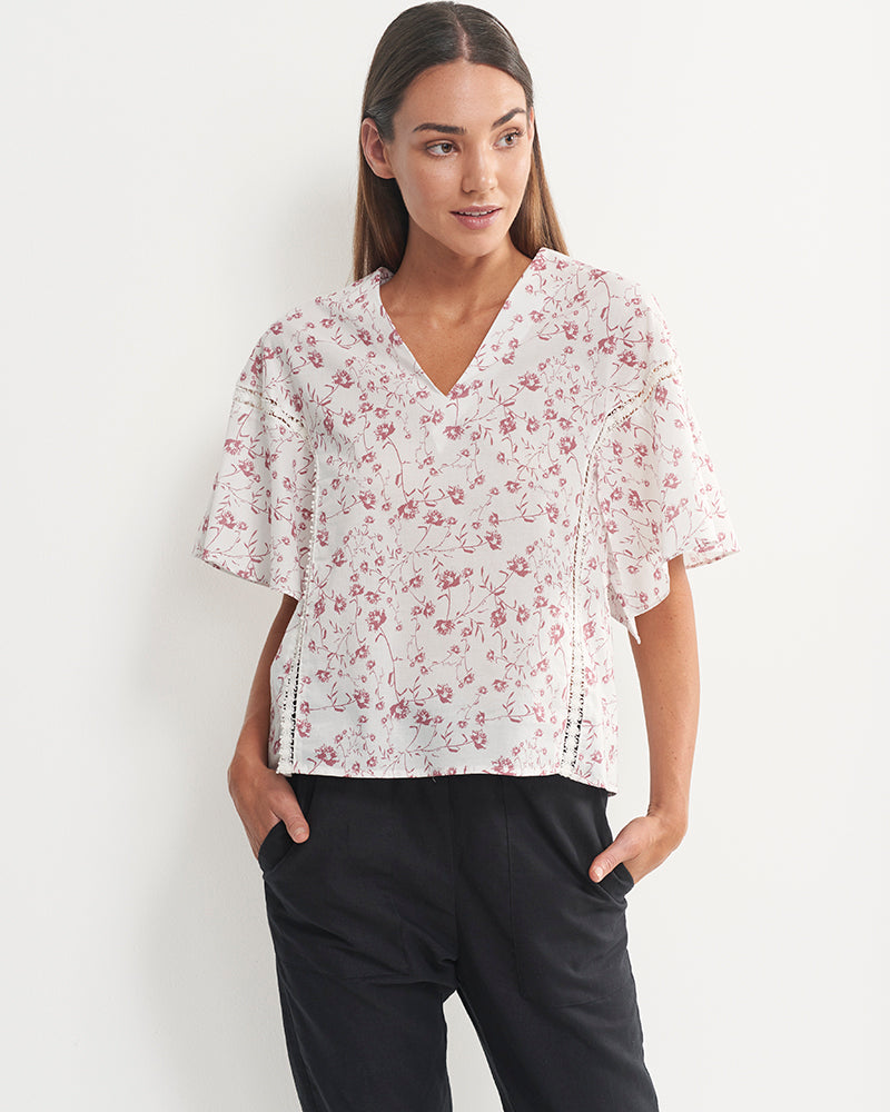 Audrey Cotton Voile Floral Top