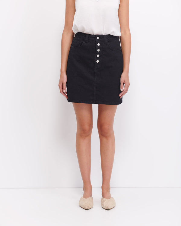 Sophia Button Up Skirt - Black