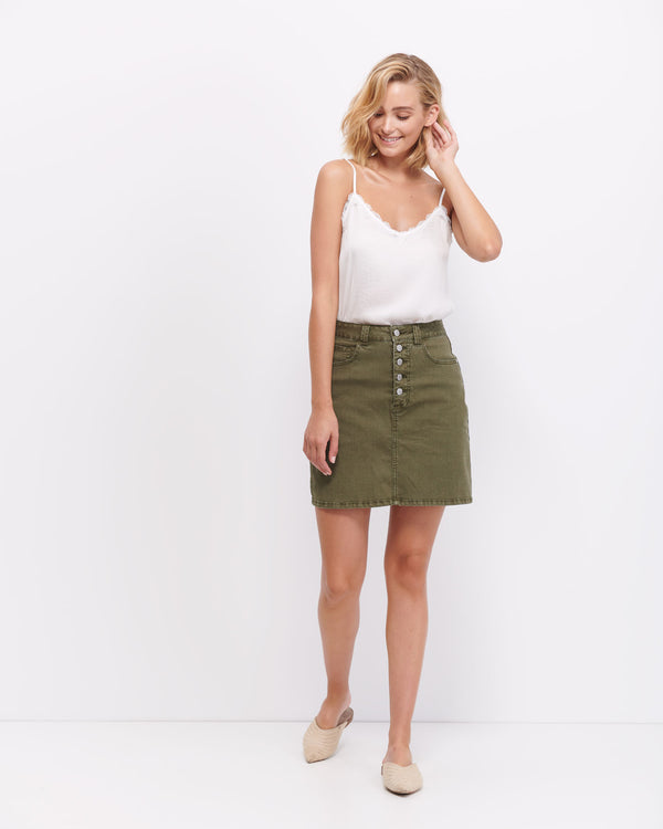 Sophia Button Up Skirt - Khaki