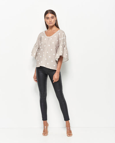 Kira Linen Cotton Top (Gold/Ivory Spot)