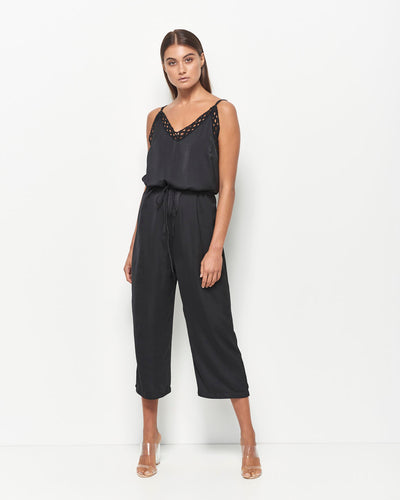 Charlee Bruised Satin Lace Jumpsuit