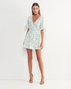 Farah Linen Cotton Floral Dress