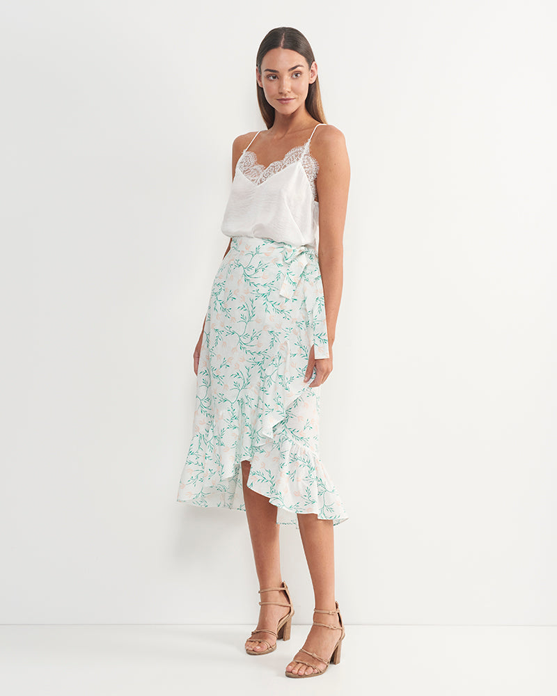 Alya Linen Cotton Floral Skirt