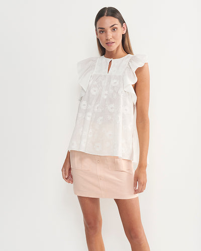 Lara Cotton Embriodered Floral Top