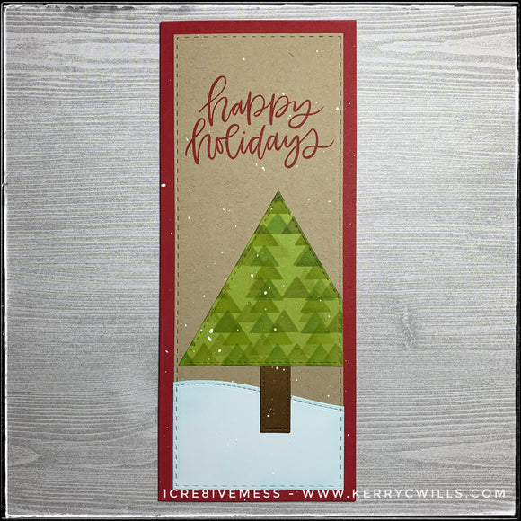 #the100dayproject : slimline handmade card 43/100-2 : happy holidays