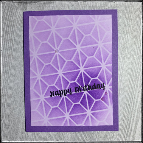 "day 15 of the #the100dayproject for 1cre8ivemess is a purple monochromatic card in a portrait format. the front panel has been stenciled on an angle with purple ink on a lavender panel. the sentiment ""happy birthday"" is stamped in alignment with the stenciled pattern in black ink."