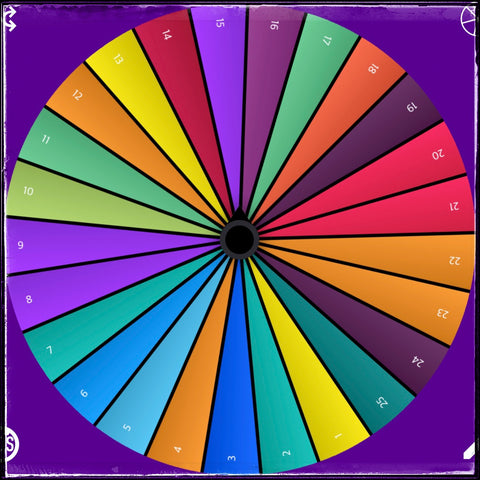 The first 25 days of the second round of #the100dayproject, as depicted by the color corresponding to the category/theme for that day from the inspiration wheel I created.