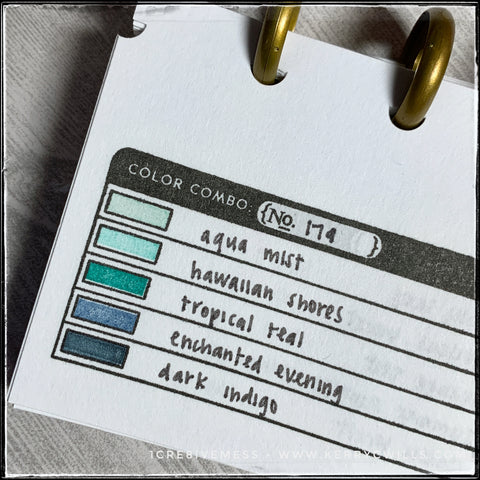 The color swatch for today is number 179 - and it's a beautiful grouping of aquas, turquoises and deep navy blues. I created this swatch book before the first round of #the100dayproject and it's so useful when I need some inspiration for colors to use.