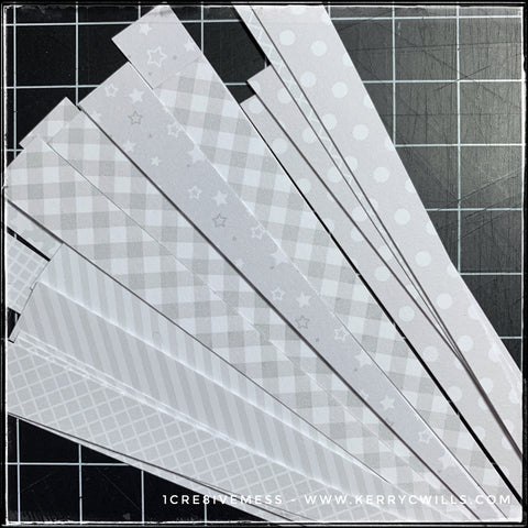 A variety of patterns for the new batch of cards, these are all tone on tone white with designs including stars, gingham, stripes, polka dots, cross hatching and a small grid pattern. Each pattern will correspond to a particular color.