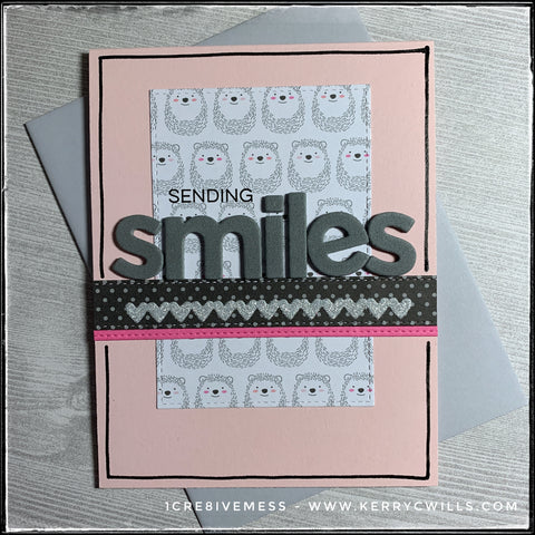 Sending smiles is the sentiment on this card front and it's a combination of stamping and die-cut letters from foam. A background panel of smiling hedgehogs reinforces the theme. Three horizontal strips, including one of tiny metallic sparkly hearts run parallel to the sentiment. Hand drawn lines outline the perimeter of the pale pink card base. A light grey envelope is included.