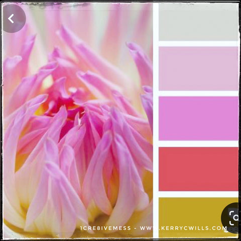 A color swatch from Pinterest, these colors include a soft grey with yellow tones, pale pink, medium pink, a coral shade of red and a saffron yellow.