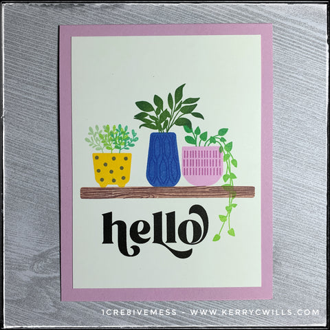 """A clean and simple design featuring a trio of potted plants alongside the sentiment, """"Hello"""" in bold black ink."""