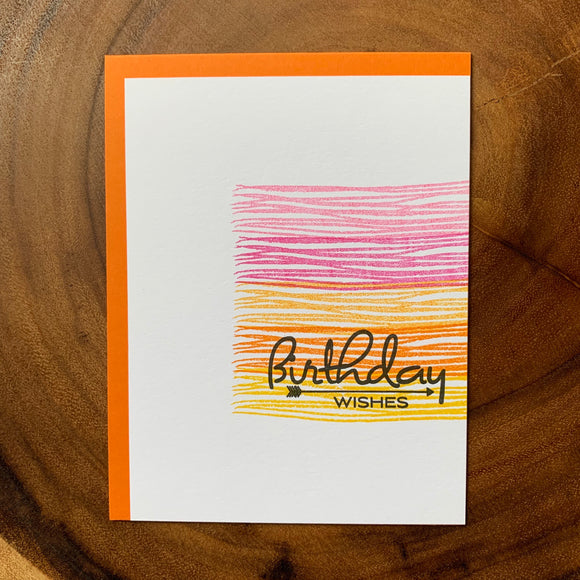 Birthday Wishes - Ombre Stripes
