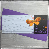 "A handmade slimline card with a white and black lined patterned section, directly next to the die-cut word ""thanks"" and a dimensional butterfly. A smattering of orange sequins add detail to the right side of the card. A purple envelope is included."