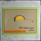 "A smiling taco slides and glides across the card front on this handmade card! The sentiment along the bottom of the card reads ""All I need is you [and tacos]"" and is accented by orange tone-on-tone washi tape. Anyone who appreciates tacos will appreciate you sending this card!"