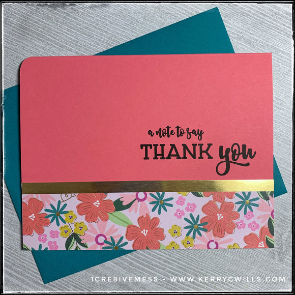 A floral patterned thank you card with gold accents, this handmade card will show your appreciation in style! The stamped sentiment reads
