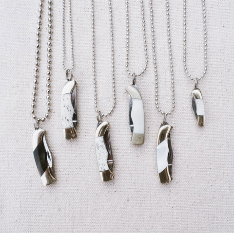 Mini Pocket Knife Charm Necklace