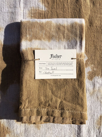 Natural Dyed Tea Towel - Chestnut