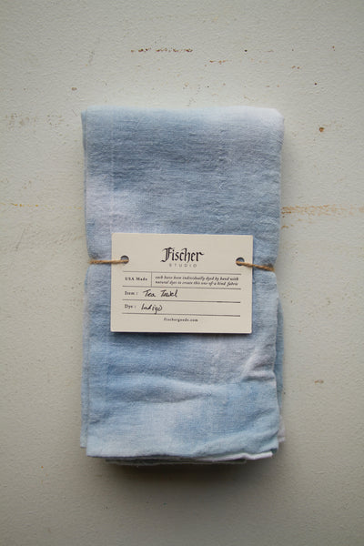 Natural Dyed tea Towel - Organic Indigo
